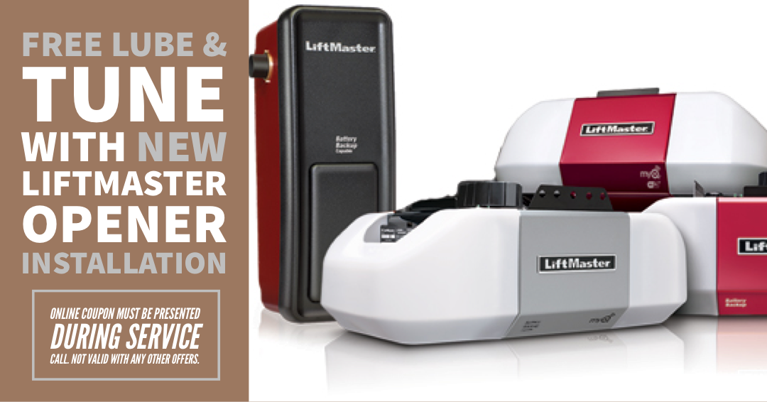 Free lube & tune up with new Liftmaster opener installation